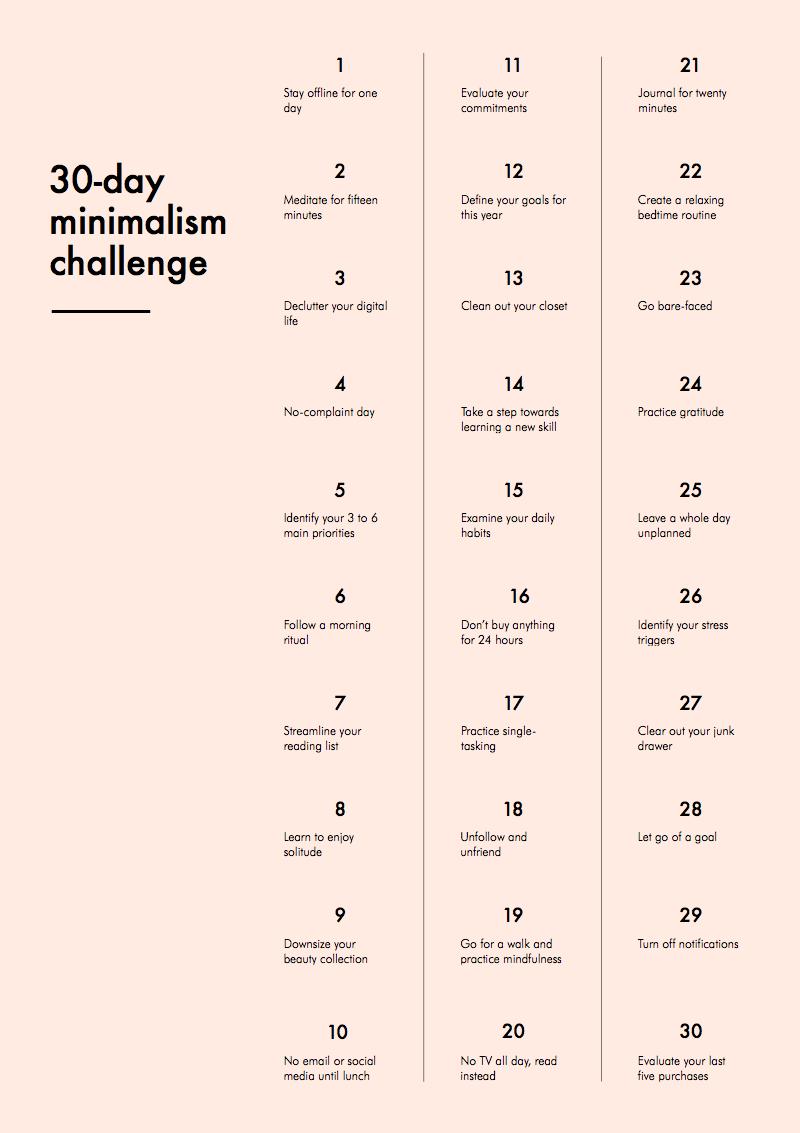 défi minimaliste 30 jours - sans objets et sans déchets